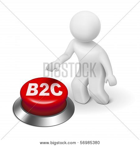 3D Man With B2C ( Business To Consumer ) Button