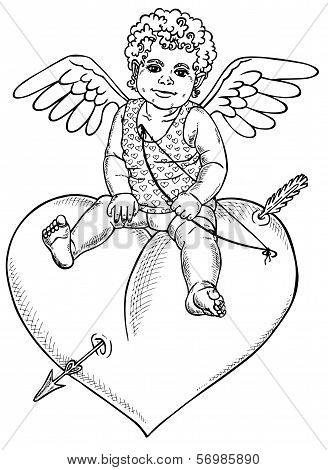 Angel Sitting On Heart