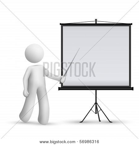 3D Man Introducing Something At A Projector