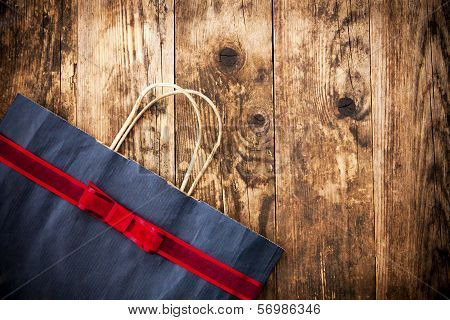 Rustic Wooden Background Paper Bag.