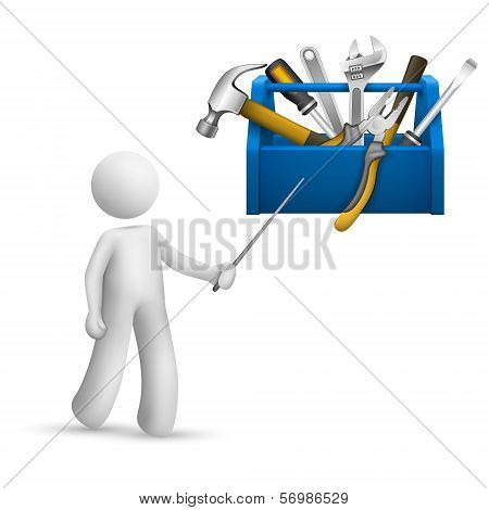 3D Person Pointing At A Toolbox With Tools