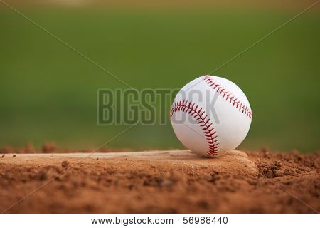 Baseball on the Pitchers Mound Close Up with room for copy