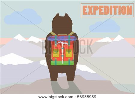 Travel Expedition Concept Vector Illustration With Hiker Bear Traveler With Backpack Standing On Mou