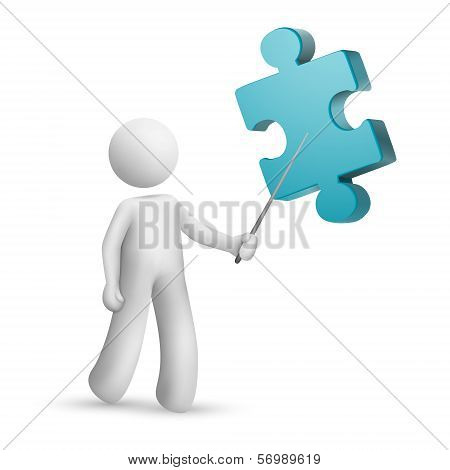 3D Person Pointing At A Puzzle