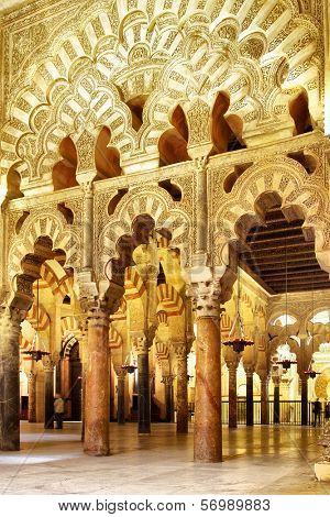 CORDOBA, SPAIN - MARCH 12, 2013: Interior of The Great Mosque of Cordoba (La Mezquita) -  masterpiece of moorish architecture, 11th century