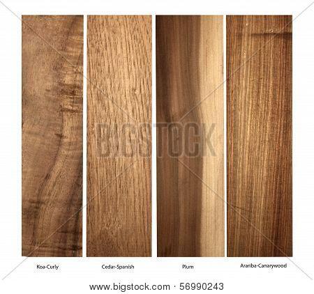 wood samples of Koa, Cedar,Plum and Arariba