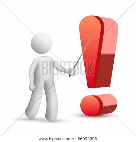 3D Person Pointing At An Exclamation Mark