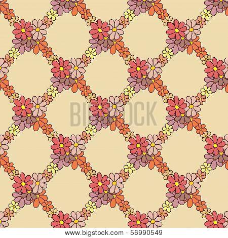 Flower Net Pattern on Beige Background