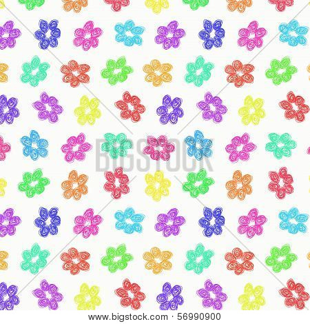 Sketchy Rainbow Flower Pattern