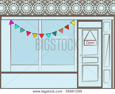 Welcoming Storefront window and door  - open sign