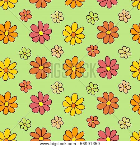 Colorful Flower Pattern on Green Background