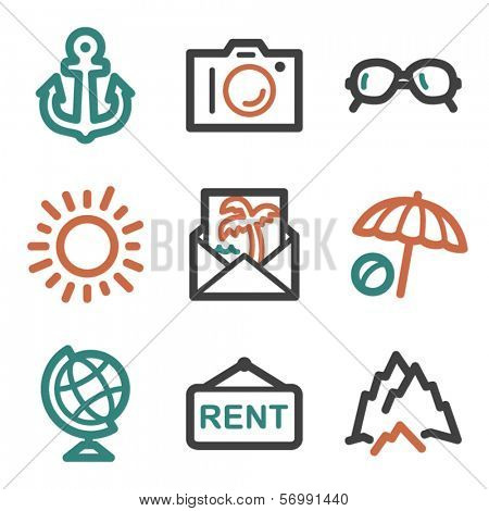 Travel web icons, contour series