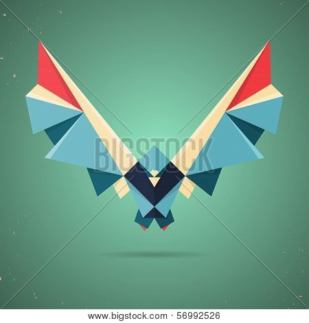 Colorful origami pigeon or dove