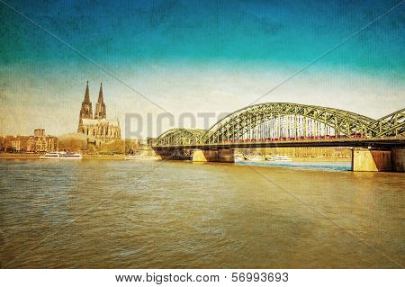 retro style View on Cologne Cathedral and Bridge, Germany