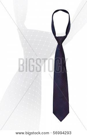 Knotted Mans Necktie On White