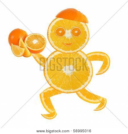 Healthy Eating. Funny Running Little Man Made Of The Orange Slices