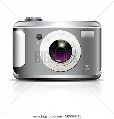 Elegant digital photo camera icon on white background