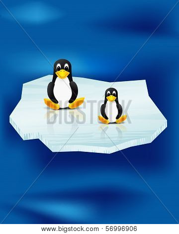 Two Penguins On Ice Floe And Sea
