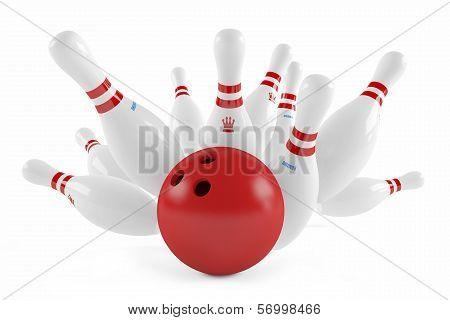 Scattered skittle and bowling ball