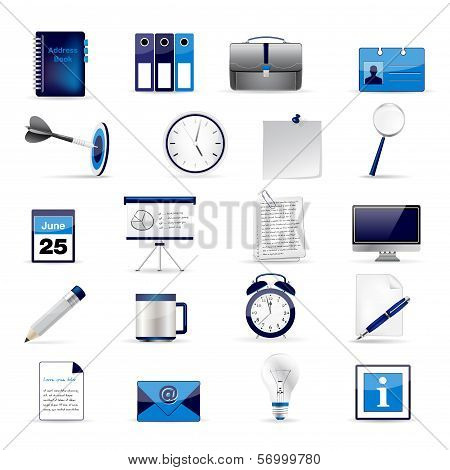 Set Of Office And Business 3D Glossy Icons