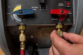 foto of hvac  - stock photo of Handyman Repairman HVAC repair tools - JPG