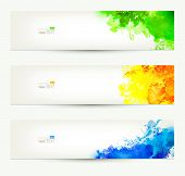 set of three colorful headers. Season banners.