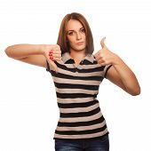 girl woman shows signs of yes and no, hand fingers isolated