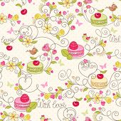 foto of berries  - Holiday seamless pattern with macaroon - JPG