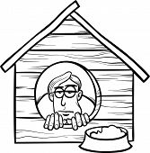 stock photo of proverb  - Black and White Cartoon Humor Concept Illustration of In The Dog House Saying or Proverb for Coloring Book - JPG