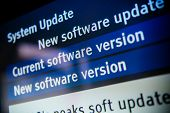 stock photo of mainframe  - System update software available on a modern smart TV set - JPG