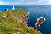 stock photo of faroe islands  - Landscape of Akraberg lighthouse Faroe Islands in a sunny day  - JPG
