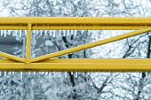 image of freezing temperatures  - Icicles formed on bars after an ice storm and freezing temperature hit the city - JPG