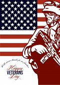 stock photo of veterans  - Greeting card poster showing illustration of an American soldier serviceman carrying armalite rifle with stars and stripes flag in background with words Happy Veterans Day - JPG