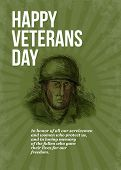 stock photo of veterans  - Greeting card poster showing hand sketched illustration of a world war two soldier facing front in retro style with words Happy Veterans day - JPG
