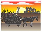 foto of hayride  - Workers go on a hayride with their boss at sunset - JPG