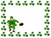 picture of fourleaf  - irish leprecahun dressed in green vested suit holding beer and pot of gold surrounded be a square of fourleaf clover - JPG