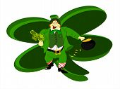picture of fourleaf  - green irish leprechaun with bunch of fourleaf clover in hand and pot of gold with large clover behind him - JPG
