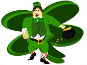 stock photo of fourleaf  - irish leprechaun dressed in green vested suit holding beer and pot of gold - JPG