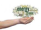 Concept or conceptual abstract green ecology or energy, conservation word cloud text in man hand on