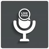 stock photo of microphone  - Creative Live music icon - JPG