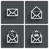 Mail icons. Mail search symbol. Print. Letters.