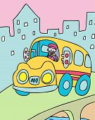 picture of bus driver  - bus driver cartoon character driving in the city - JPG