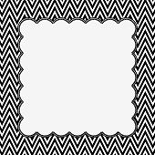 stock photo of chevron  - Black and White Chevron Frame with Embroidery Background with center for copy - JPG
