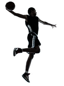 image of slam  - one young man basketball player one hand slam dunk silhouette in studio on white background - JPG