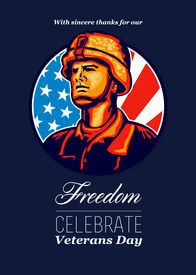 stock photo of veterans  - Greeting card poster showing illustration of an American soldier military serviceman looking forward with USA stars and stripes flag in background set inside circle with words Veterans Day celebrate freedom - JPG