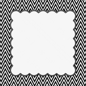 image of chevron  - Black and White Chevron Frame with Embroidery Background with center for copy - JPG