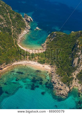 Limni beach in Paleokastritsa, Corfu Greece view from the air