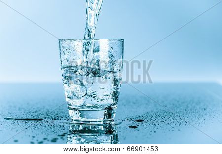water to drink poured into a glass