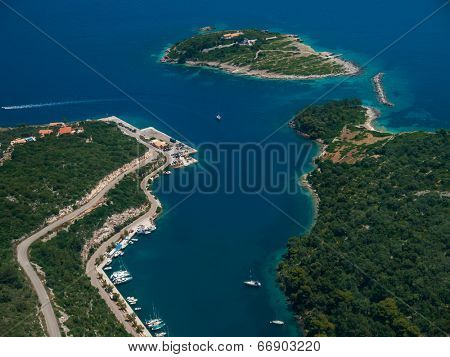Aerial view of Paxos island Greece