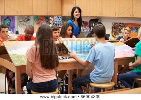 High School Art Class With Teacher